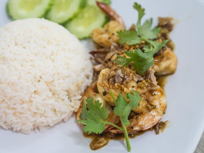 la crevette a fait frire avec l'ail et le poivre, mangent avec du riz photographie stock libre de droits