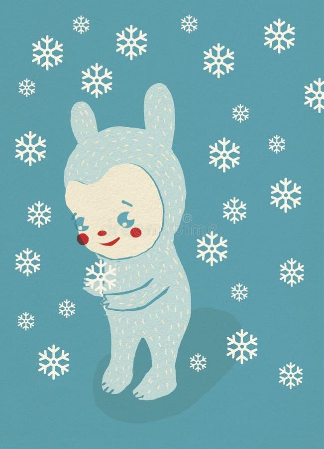 La criatura de la historieta se coloca en nieve del invierno ilustración del vector