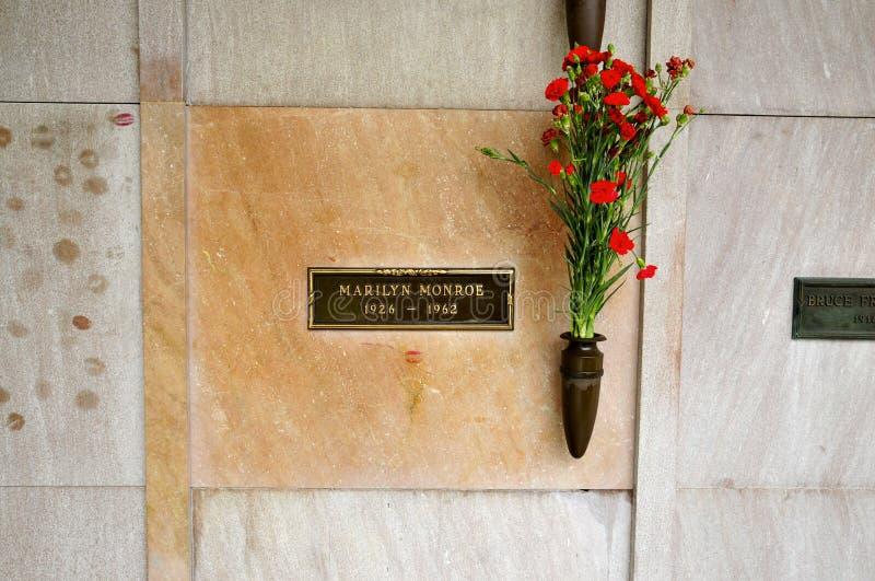 La cripta di Marilyn Monroe a Los Angeles immagini stock