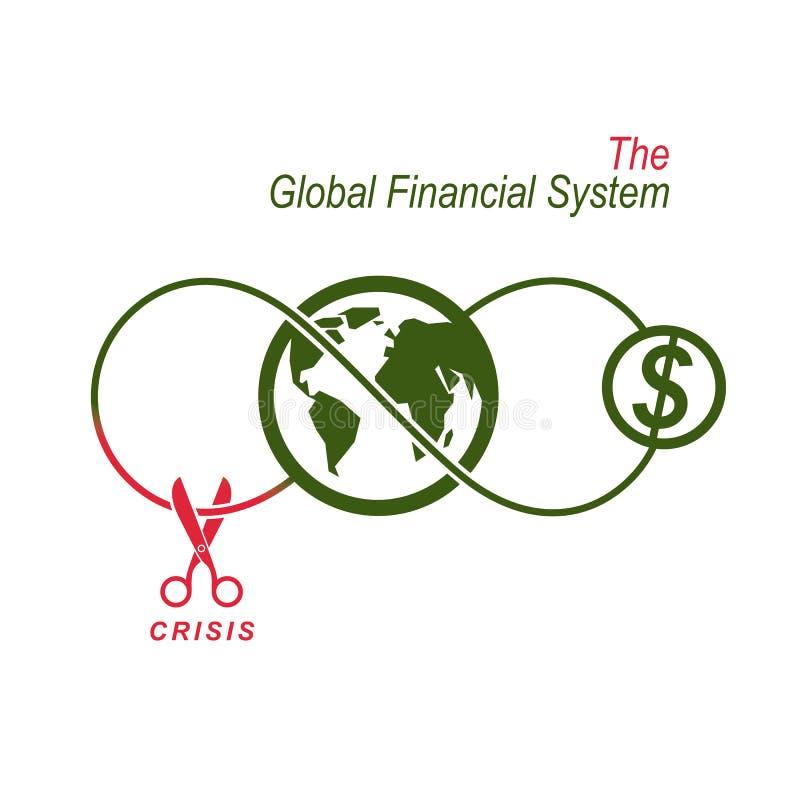 La crise dans le logo conceptuel de système financier global, VE unique illustration stock