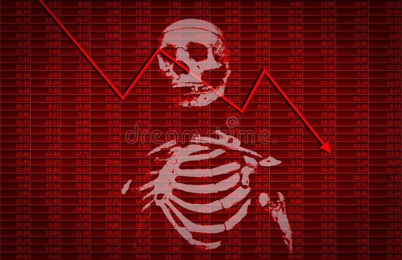 La crise financière avec le squelette et la flèche tendent vers le bas photos libres de droits