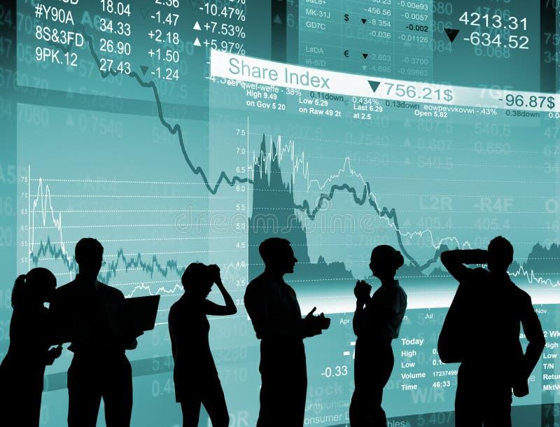 La crisi finanziaria profila la gente di affari che lavora il concetto fotografia stock libera da diritti