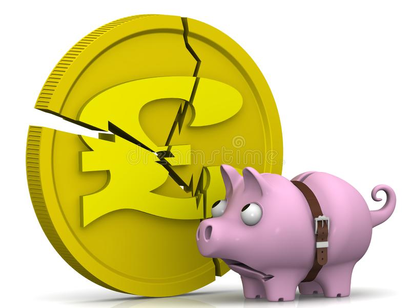 La crisis de la econom?a BRIT?NICA Concepto stock de ilustración