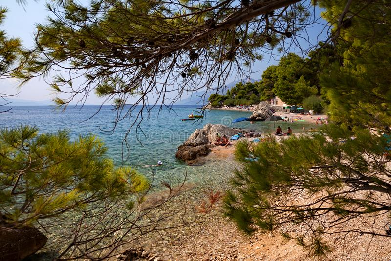 La Croatie - Brela, Makarska la Riviera, Dalmatie, Mer Adriatique photo stock
