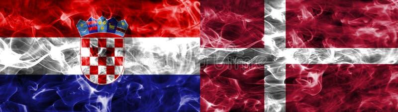 La Croatie contre le drapeau de fumée du Danemark, quarts de finale, coupe du monde du football 2018, Moscou, Russie illustration de vecteur