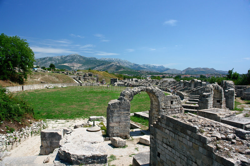 La Croatie, ruines, amphitheatre photo stock