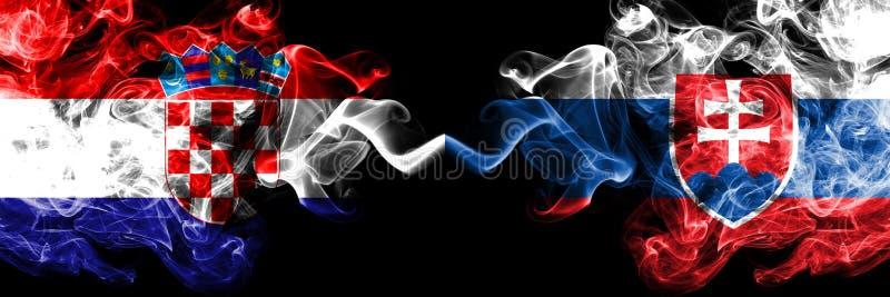 La Croazia, croato, Slovacchia, slovacca, bandiere fumose variopinte spesse della concorrenza di vibrazione Giochi europei di qua illustrazione vettoriale