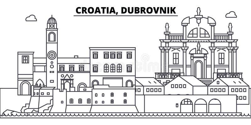 La Croazia, linea illustrazione di Ragusa di vettore dell'orizzonte La Croazia, paesaggio urbano lineare con i punti di riferimen illustrazione di stock