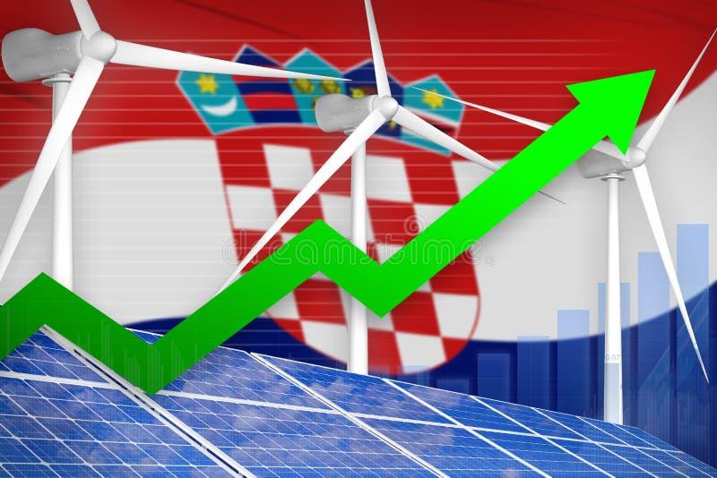 La Croazia solare e grafico di aumento dell'energia eolica, freccia - sull'illustrazione industriale moderna di energia naturale  illustrazione vettoriale