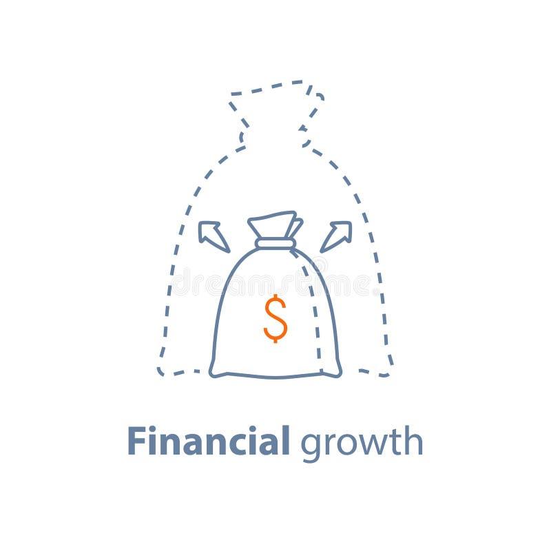 La croissance capitale, de grand intérêt, augmentation de revenu, investissement à long terme, bénéfice financier, gagnent l'arge illustration stock