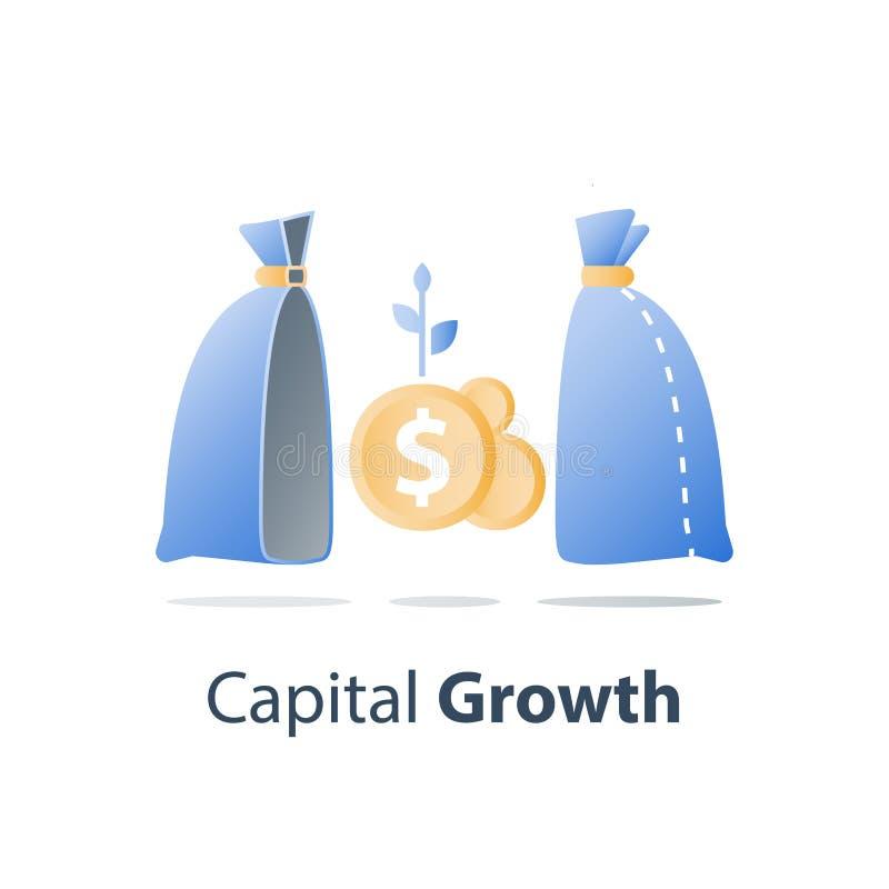 La croissance capitale, investissent la solution de fonds, gestion de richesse, gagnent plus d'argent, stratégie de placement à l illustration stock