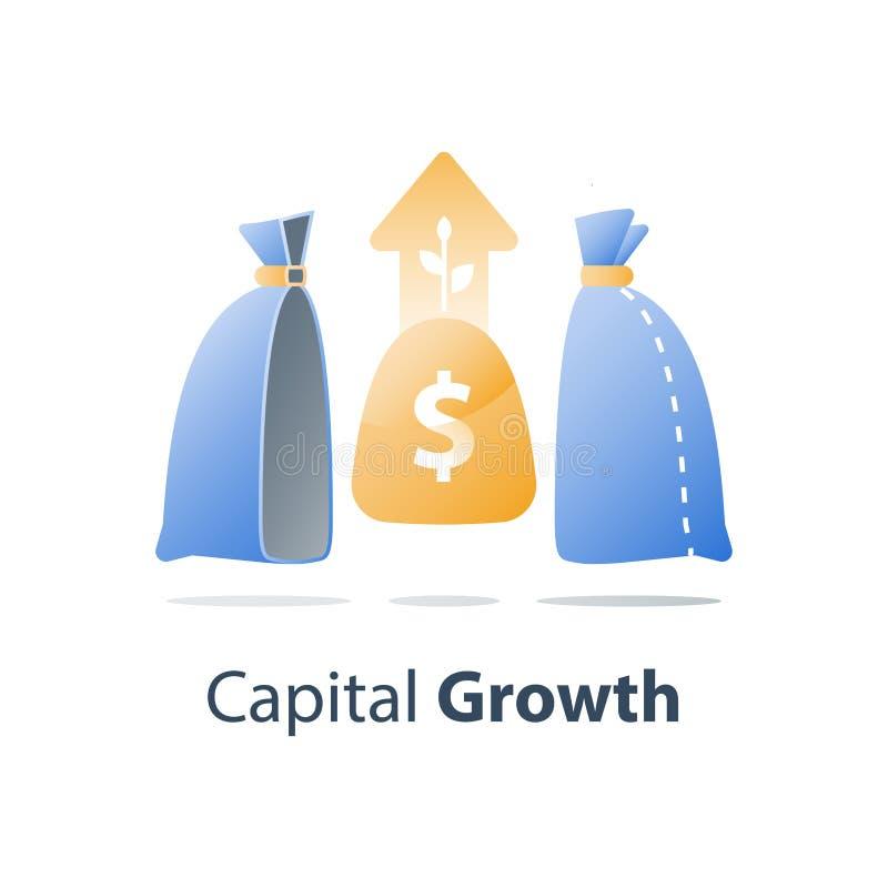 La croissance capitale, investissent la solution de fonds, gestion de richesse, gagnent plus d'argent, strat?gie de placement ? l illustration libre de droits
