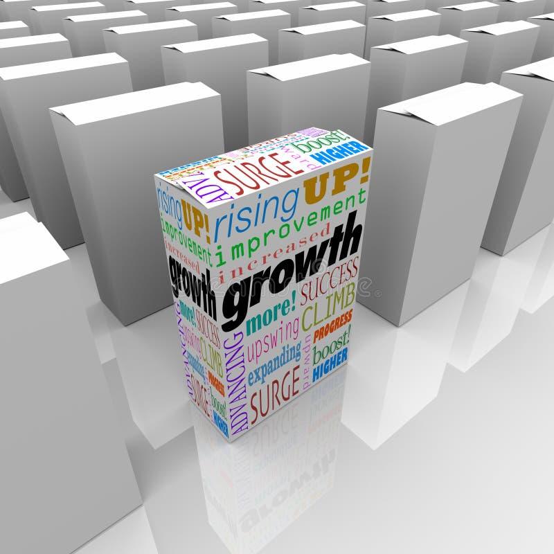 La croissance exprime un meilleur avantage d'avantage concurrentiel de produit de boîte illustration de vecteur