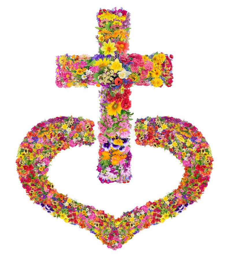 La croix du Jésus-Christ à mon coeur illustration stock