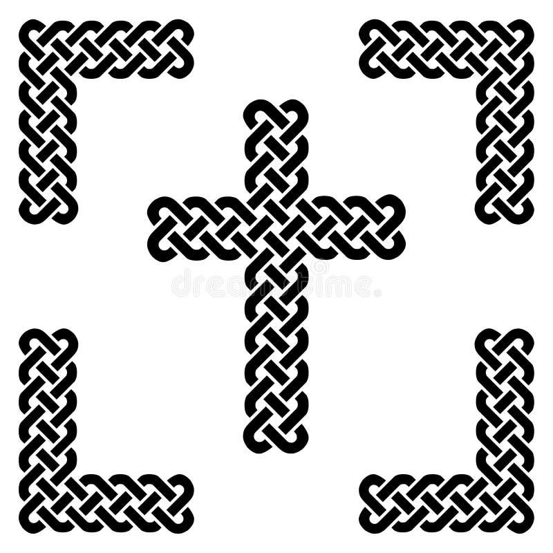 La croix sans fin de style celtique simple de noeud dans le noir dans le cadre noir noué sur le fond blanc a inspiré par jour du  illustration stock