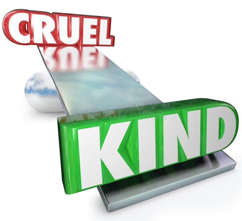La cruauté contre la gentillesse exprime l'équilibre cruel ou aimable illustration stock