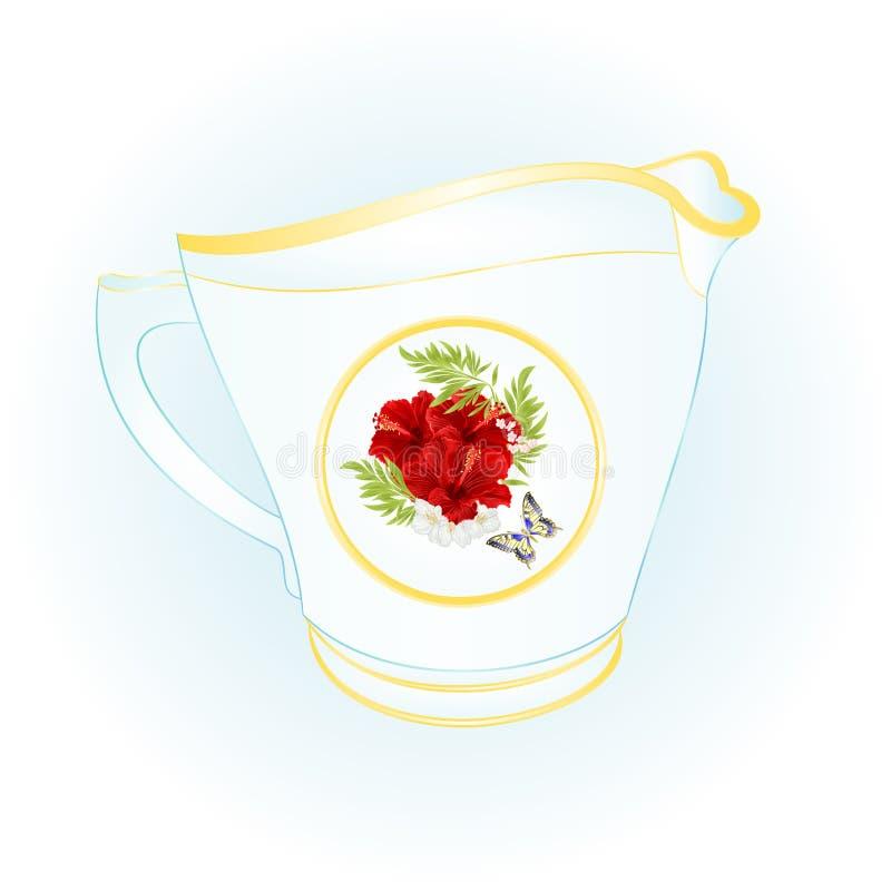 La cruche de lait de vintage rouge de ketmie et de papillon de porcelaine dirigent l'illustration editable illustration stock
