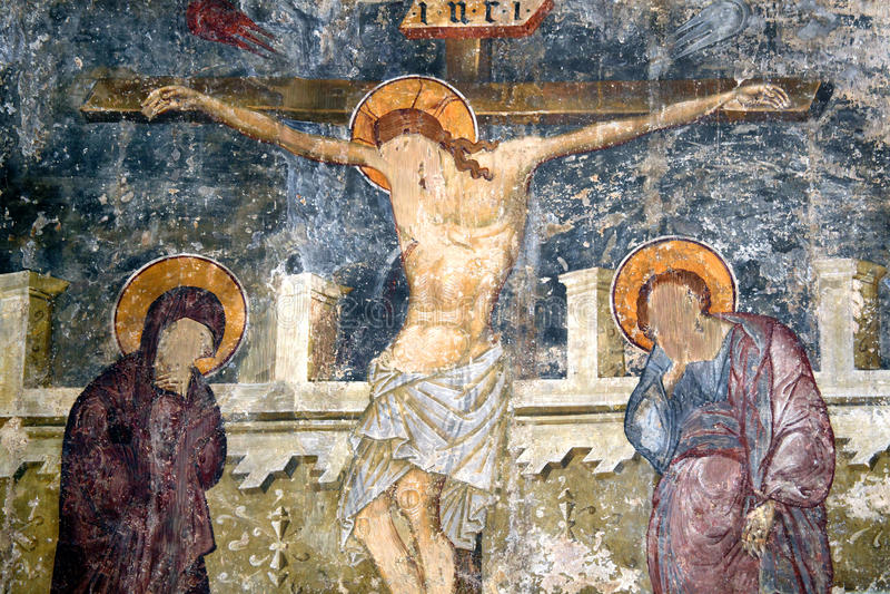La crucifixión, castillo de Kolossi, Chipre fotos de archivo libres de regalías