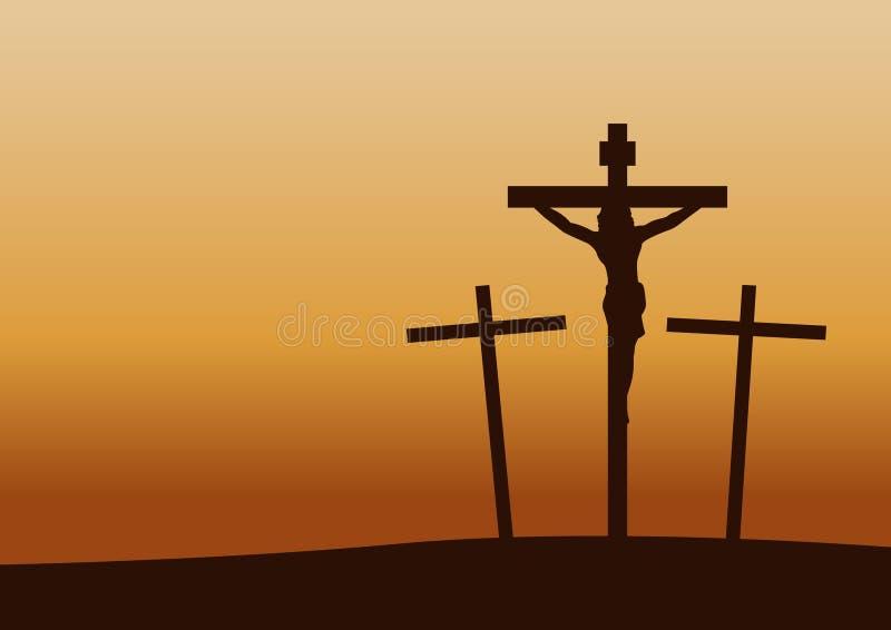 La crucifixión del Calvary el tiempo de la puesta del sol, importante sucede en historia del cristianismo stock de ilustración