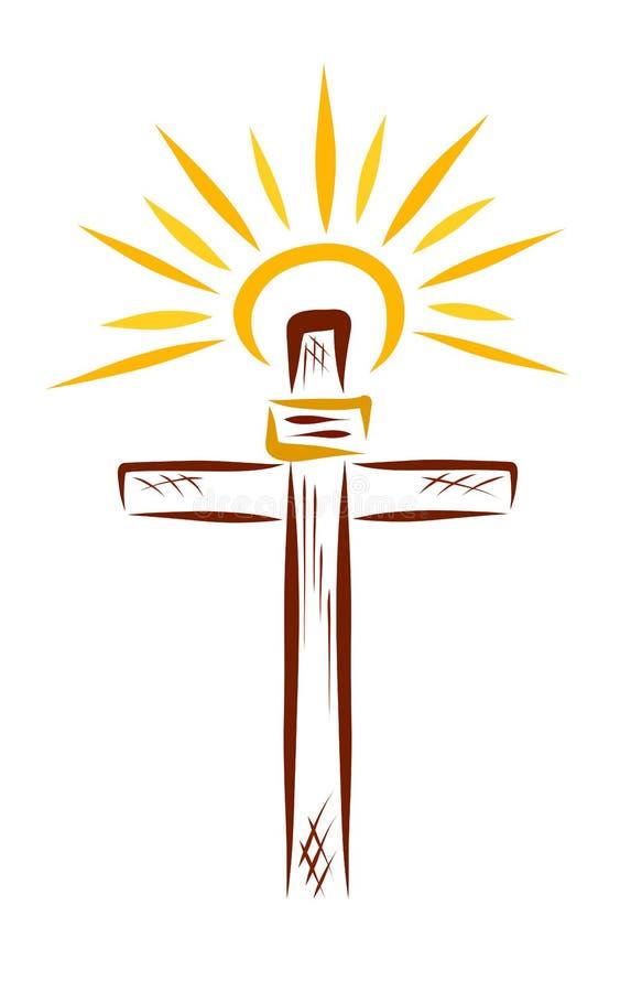La cruz de Jesús y del sol brillante stock de ilustración