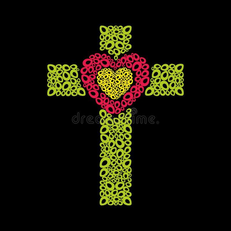 La cruz de Jesus Christ y del corazón ilustración del vector