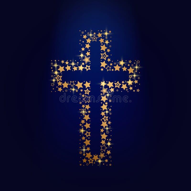 La cruz de oro de Jesus Christ que consiste en las diversas estrellas chispeantes de oro Concepto de Pascua Ejemplo aislado libre illustration