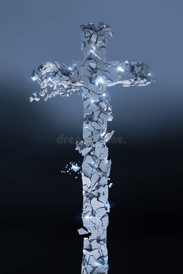 La cruz de piedra cristiana que se rompe en muchos pedazos, brilla intensamente y fondo oscuro 3d rinden los cilindros de image stock de ilustración