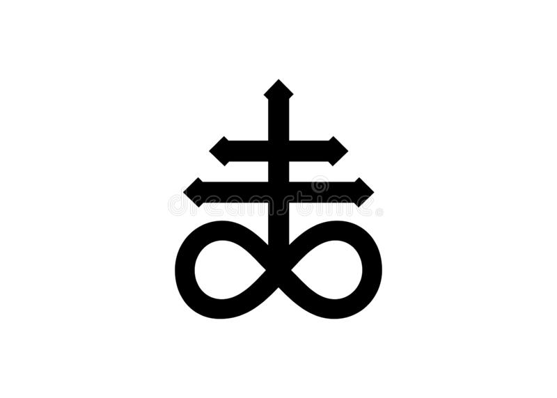 La cruz de Satanás, símbolo alquímico cruzado del leviatán para el azufre, asociado al fuego y al azufre del infierno Aislado ilustración del vector