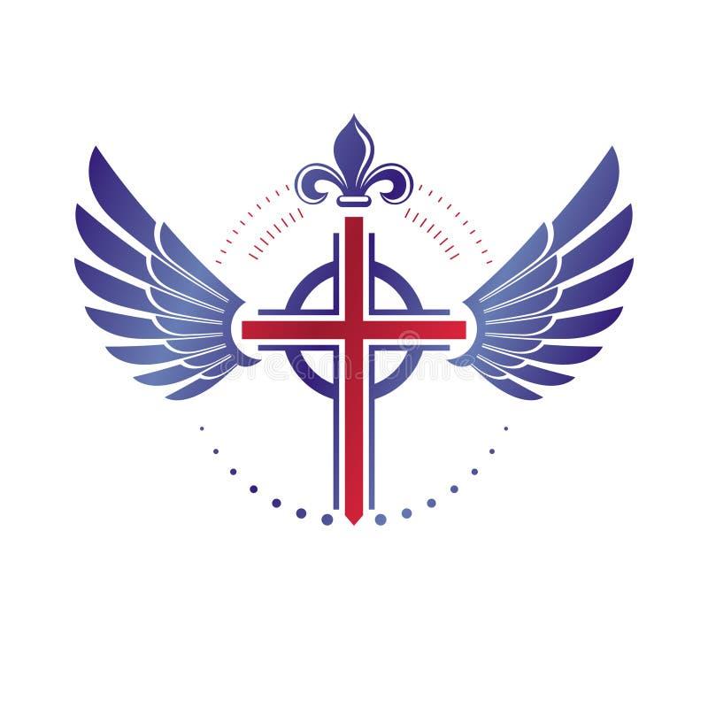 La cruz del emblema de la religión del cristianismo compuesto con las alas del pájaro y el lirio real florecen Logotipo decorativ libre illustration