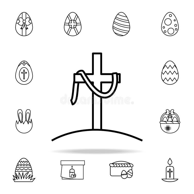 la cruz del icono de Jesús Sistema universal de los iconos de Pascua para el web y el móvil ilustración del vector