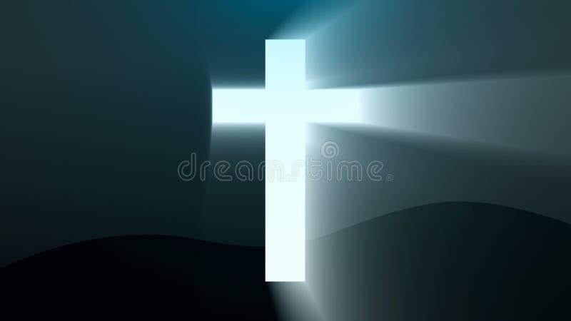 La cruz ligera de Cristo, rayo emite el fondo libre illustration
