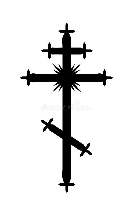 La cruz ortodoxa Griego-católica stock de ilustración