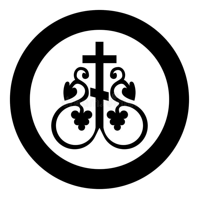 La cruz religiosa del monograma de la vid cruzada del símbolo de la muestra secreta cruzada de la comunión ancla el icono en ve libre illustration