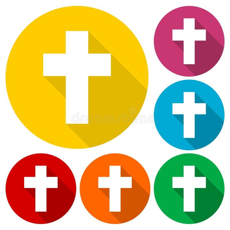 La cruz religiosa, los iconos cristianos de la muestra fijó con la sombra larga libre illustration