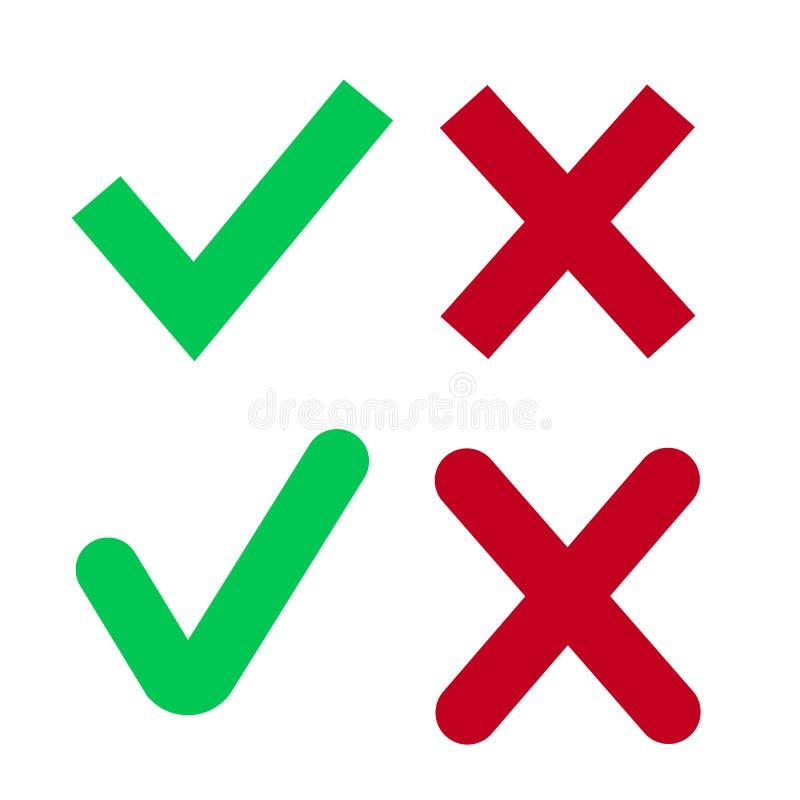 La Cruz Roja y el plano verde de la señal fijaron para los sitios web Las muestras correctas e incorrectas aisladas en el fondo b ilustración del vector