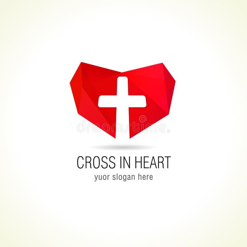 La cruz y el corazón de la iglesia cristiana de la fe vector el logotipo stock de ilustración