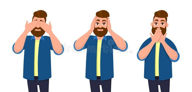 La cubierta del hombre observa, los oídos y boca con las manos como pareciendo los tres monos sabios El ` t de Don considera, pon libre illustration
