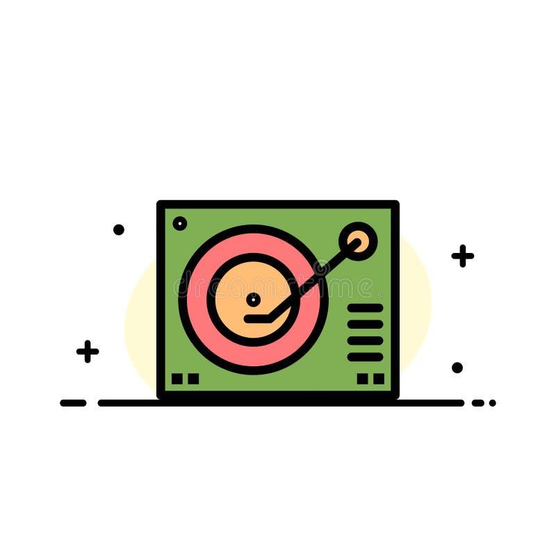 La cubierta, dispositivo, fonógrafo, jugador, línea plana del negocio de registro llenó la plantilla de la bandera del vector del stock de ilustración