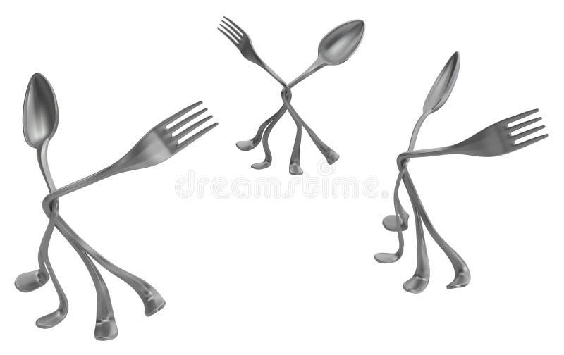 La cuchara de la bifurcación empareja tres libre illustration