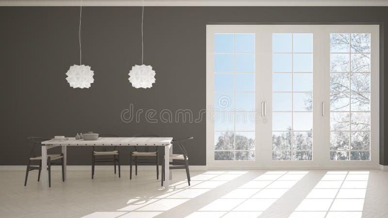 La cucina bianca e grigia classica con i dettagli di legno e beige, tavolo da pranzo ha posto per due, le sedie e le lampade di p royalty illustrazione gratis