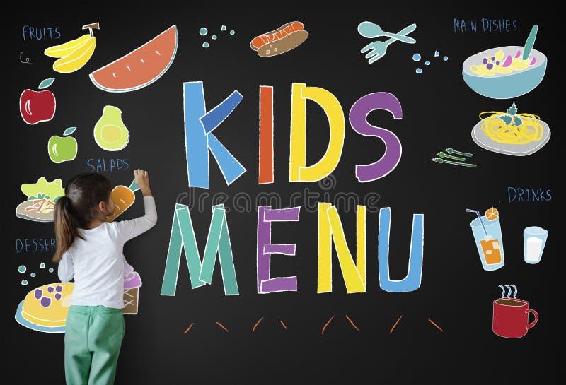 La cucina del menu dei bambini serve il concetto del pasto immagine stock