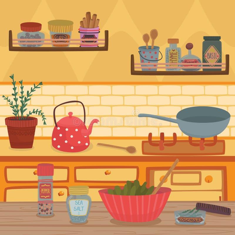 La cucina domestica con gli utensili dell'articolo da cucina, gli scaffali, le erbe e le spezie sulla tavola di legno vector l'il illustrazione vettoriale
