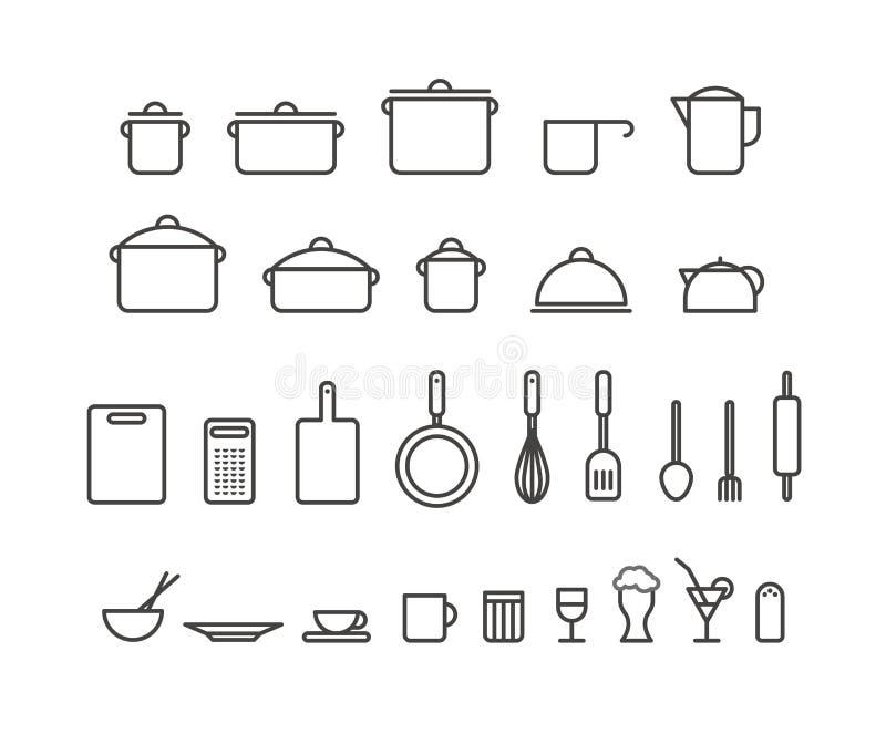 La cucina foggia la raccolta delle icone della siluetta royalty illustrazione gratis
