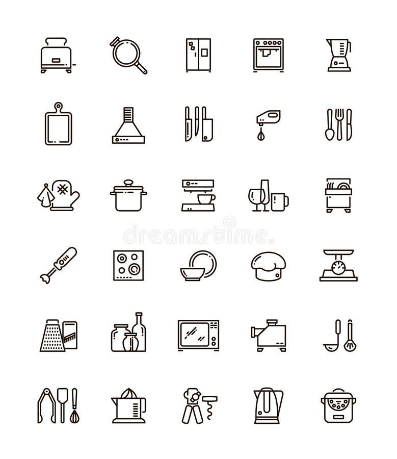 La cucina, gli strumenti della cucina e le apparecchiature allineano le icone di vettore Ristorante che cucina i pittogrammi royalty illustrazione gratis