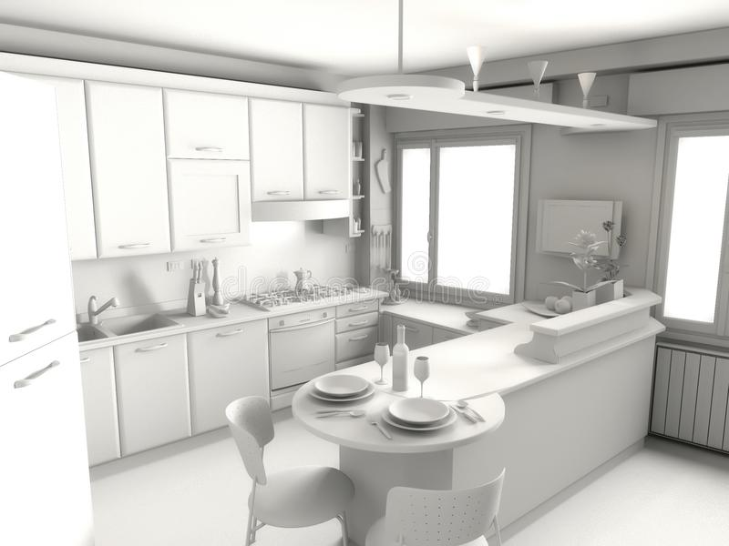 La cucina rende illustrazione vettoriale