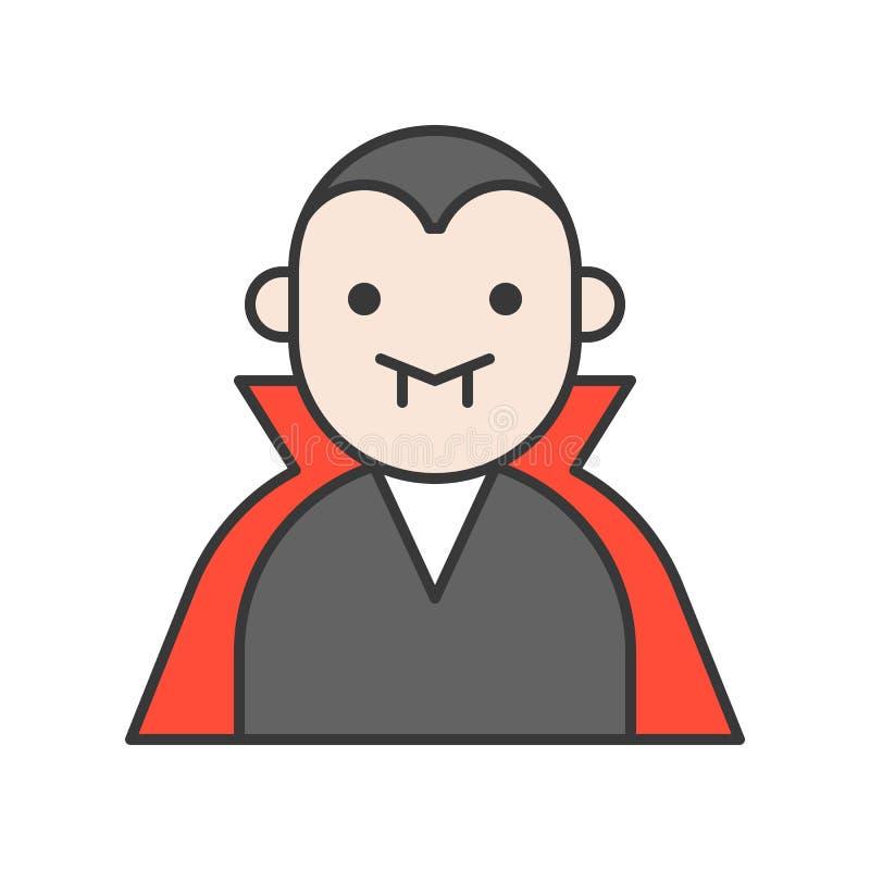 La cuenta Drácula, Halloween relacionó el st editable del diseño del esquema del icono ilustración del vector