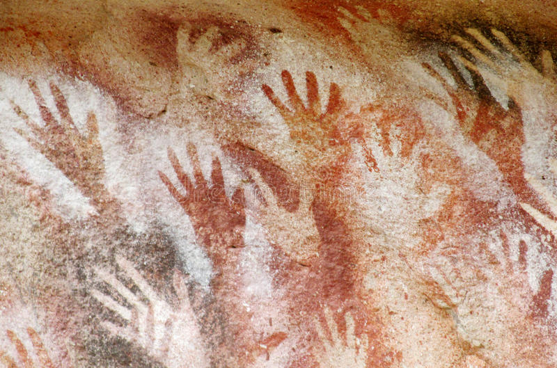 La cueva con la mano imprime, cueva de las manos foto de archivo libre de regalías
