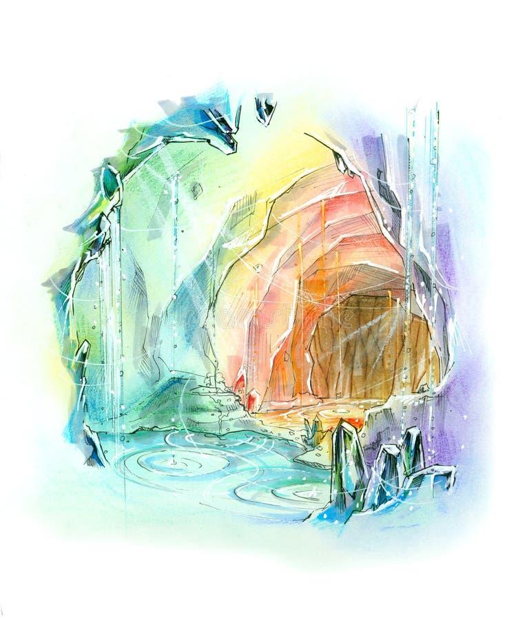 La cueva misteriosa del cristal de cuarzo explora libre illustration