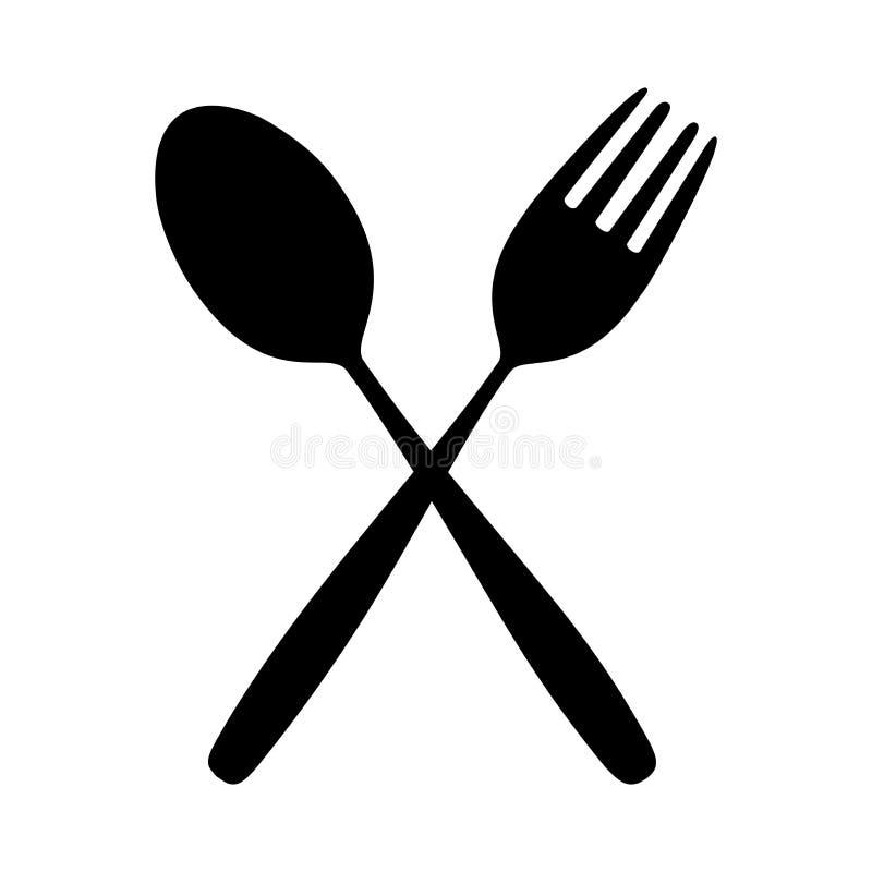 La cuillère et la fourchette d'icône sur la table de salle à manger pour la silhouette de nourriture ont isolé le fond illustration de vecteur