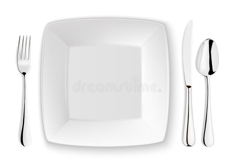 La cuillère, la fourchette, le couteau et le plat réalistes de vecteur plaquent le plan rapproché sur le fond blanc Calibre ou mo illustration libre de droits